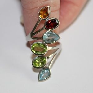 Sterling silver ring multi colored stones sz.7